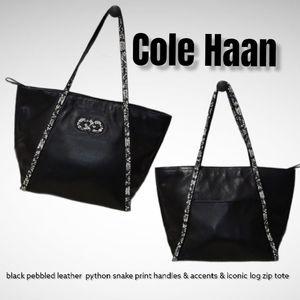 Cole Haan pebble leather snake print zip tote bag